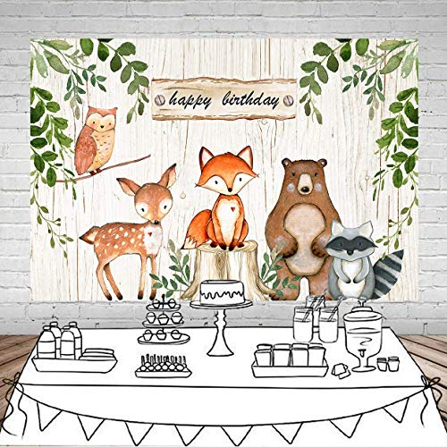 Daniu 15,2 x 121,9 cm Woodland Baby Shower Hintergrund Wald Kreaturen Party Fotografie Hintergrund Geburtstag Party Banner Hintergründe Tier Cartoon Foto Dekoration Supplies