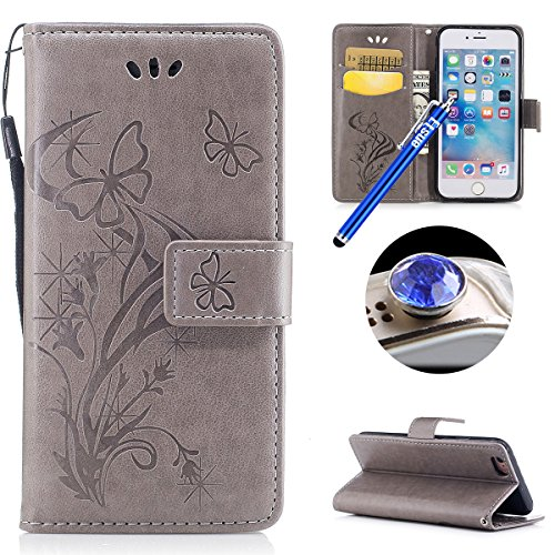 Etsue Schmetterling Schutzhülle Handytasche für iPhone 6s Plus/iPhone 6 Plus Lederhülle Flip Tasche Case Leder Flip Hülle, iPhone 6s Plus/iPhone 6 Plus Muster Butterfly Blumen Luxus Vintage Handyhülle Schmetterling,Grau