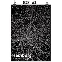 Mr Mrs Panda Poster DIN A2 Stadt Hamburg Black
