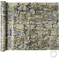 tectake Brise Vue pour Balcon Protection visuelle | Résistant aux intempéries - diverses Couleurs et diverses Tailles au Choix (0,9 x 6 m | Motif Pierres | No. 402709)