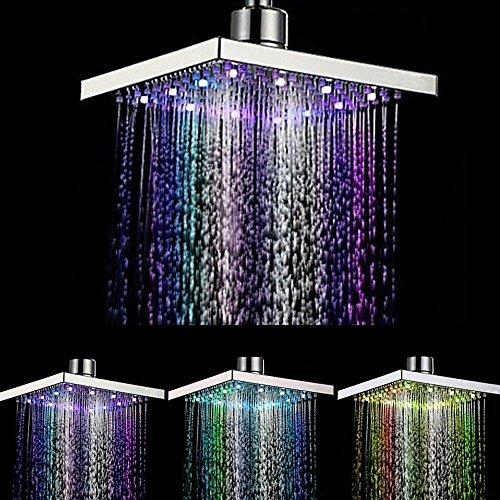 Nautische Outdoor-leuchten (Duschkopf mit LED-Beleuchtung, 360 ° verstellbar, Chrom, wassertemperaturgesteuert, mehrfarbig)