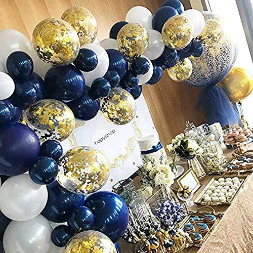 Hapyshop Luftballons Marineblau, 104 Stück Latexballons goldene Konfetti Luftballons für Geburtstag Partydeko Babydusche Hochzeit Deko, Mädchen Junge,mit 1Pcs Ballons Zierleiste,Weiß