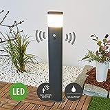 Lampenwelt LED Außenleuchte mit Bewegungsmelder (spritzwassergeschützt) (Modern) in Alu aus Edelstahl (1 flammig, A+, inkl. Leuchtmittel)   Wegeleuchte, Pollerleuchte, Wegelampe, Sockelleuchte