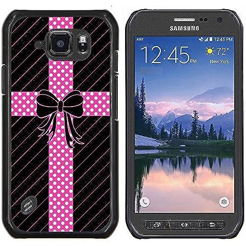 Copertura di plastica Shell Custodia protettiva    Samsung Galaxy S6 Active G890A    Dot Bow (Dots Ragazzi Tie)