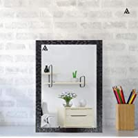 """AG Crafts™ Decorative Wooden Finish Water Proof Vanity Wall Mirror Glass for Living Room, Bathroom, Bedroom (No.008) (12"""" x 18"""") (Black)"""