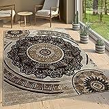 Paco Home Designer Wohnzimmer Teppich Orientalisch Mandala Motive Braun Beige, Grösse:60x100 cm