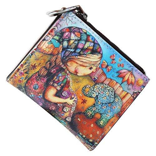 Cozywind Mujer Billetera Corta Cartera Lindo Monedero Plegable con Cremallera de Bolsillo para Monedas y Tarjeta Ranuras (Short-Girl)