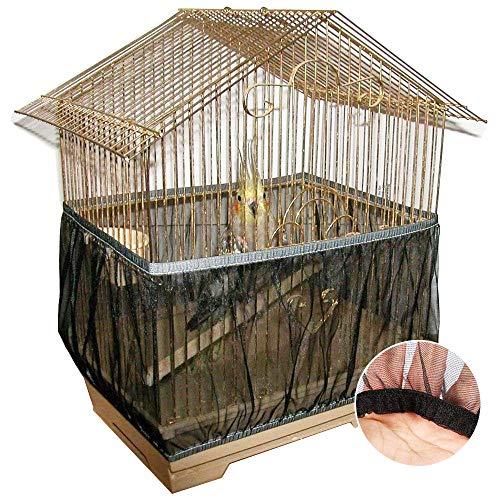 Vogelkäfig Schutznetz,Vogelkäfig Netz,Käfigabdeckung, aus Nylon, Elastisch Netzgewebe, belüftet, für Vogelkäfige, Abdeckung, Hülle, staubdicht, zum Auffangen von Samenkörnern, Haustierprodukt L Größe