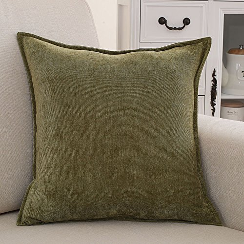 Teebxtile Haut confort velours Velvet Back support berceau en peluche de couleur solide oreiller, 50x50cm (+ capot, vert