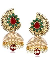 Meenaz Kundan Pearl Jhumki Earrings For Women Ear rings for Girls in Traditional Ethnic Gold Plated J136