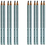 Faber-Castell 111997 - 12er (6x2) Pack Jumbo GRIP Bleistifte, Härtegrad: B, Schaftfarbe: wählbar (6, silber)