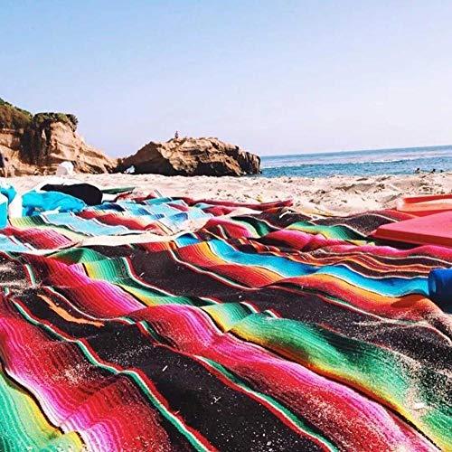 Ecisi Decke, ethnischen Stil Stranddecke, super weiche multifunktionale Decke, mexikanische indische handgemachte Regenbogen-Baumwolldecke, Home Gobelin Strand Picknick Mat
