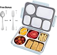 FIRST-MALL Leak-Proof Bento Style Lunch Box - Stainless Steel Versatile 4 Compartment Food Containers - On-The-Go Meal and Sn