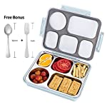 FIRST-MALL Leak-Proof Bento Style Lunch Box - Stainless Steel Versatile 4 Compartment Food Containers - On-The-Go Meal...