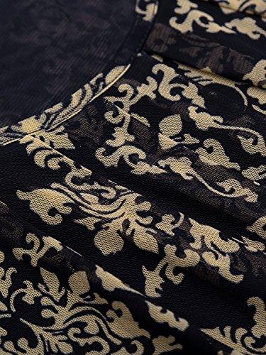BaiShengGT Damen Langarmshirt Rundhals Falten Shirt Stretch Tunika Blau-Print