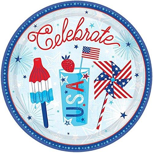 Fancy Me USA-rote weiße Blaue amerikanische Feier-Partei-Geschirr-Dekorations-Zusätze am 4. Juli Unabhängigkeitstag-Sportereignis (Platten)