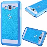 GrandEver Hard PC Case for Samsung Galaxy J5 2015 Rigid Glitter Back Cover Solid Color Bling Shiny Sparkle Design Galaxy J5 High Quality Plastic Shell Shockproof Tough Case Cover Flexible Cell Phone Hull for Samsung Galaxy J5 2015 --- Blue