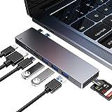 FLYLAND USB C Hub, Adaptateur de Type c 8 en 1 avec Thunderbolt 3, USB 3.0 * 3, Port HDMI 4K, Port USB C Femelle, Lecteur de Cartes SD et Micro SD pour MacBook Pro Uniquement (Gris)
