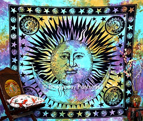 Psychedelic Celestial Indian Sun Moon Star Tapestry, Good Morning Tape