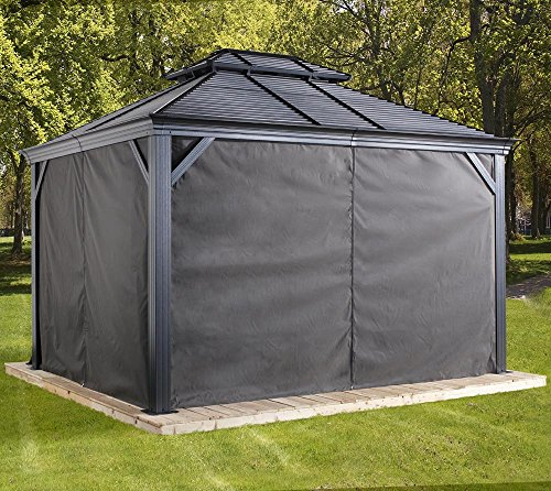 Sojag Aluminium Pavillon Mykonos 10x14 Vorhänge Seitenteile Dunkelgrau/Passend für Gartenlaube Mykonos 10x14