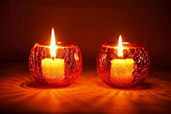 Derien Set OF 2 Crackle Candle Holders With Free 2 Tea-Lights/ Beautiful Candle Stand Set For Home Decoration/ Candle Lights for Living Room And Dining Area/ Antique Candle Stand for Party Decoration (Size: 9 X 9 X 9cm) DE065-Orange