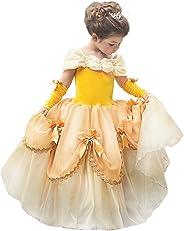 CQDY Belle Princess Kostüm Schönheit und das Biest Kleider Halloween Party Fancy Dress up Prinzessin Kleider für Mädchen