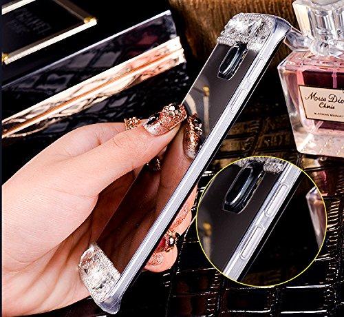 EUWLY Specchio Custodia Per iPhone X, Specchio Soft TPU Silicone Case per iPhone X Cristallo Brillantini Trasparente Clear Custodia Backcover Bling Glitter Shinning Strass Diamante Custodia Ultra Sott specchio,Grigio Nero