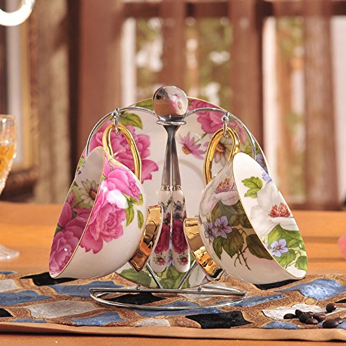 HAIZHEN Vajilla Tazas Taza de café creativa Continental Bone China Taza de café y platillo Set Taza de café inglés Té de la tarde Juego de té Cerámica (Color : #2, Tamaño : 2 Sets)