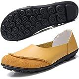Hsyooes Low-Top Donna Scarpe da Barca Mocassini Piatto Scarpe Pelle Tacco Basso Sandali Scarpe da Guida