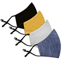 MEDICO EXPERTS 3 Layer Cotton Washable, Reusable Soft Face Masks for Men, Women with Elastic Adjusters, Pack of 4…