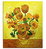 Fokenzary handgemaltes Ölgemälde auf Leinwand, Vincent van Gogh klassische Sonnenblumen, Reproduktion, Wanddekoration, gerahmt, fertig zum Aufhängen, canvas, 20x24in