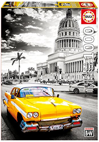 Educa Borrás Puzzle 1000 Taxi en La Habana, Cuba Coloured Black & White (17690)