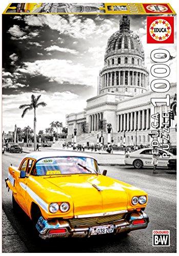 Educa 17690 1000 Taxi in Havanna, Kuba Schwarz-Weiß Eingefärbt