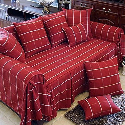 Yifom Protezione di arredamento semplice quadrato rosso moderno tessuto set divano divano panno polvere,lunghezza 320cm* (Sedia Moderna Divano Loveseat Sedia)