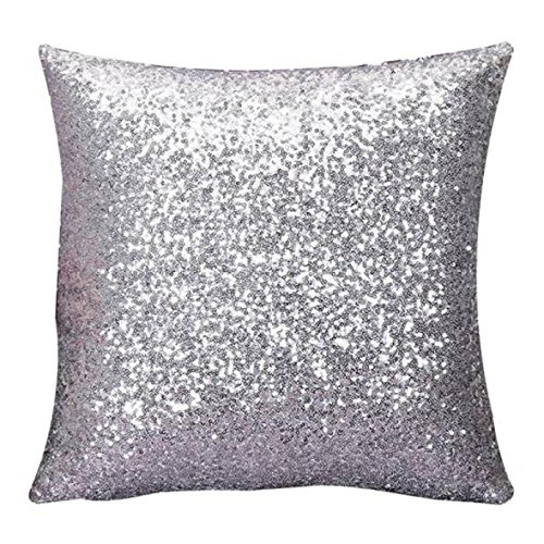 Indexp Glitter Sequins Solid Color Pillowcase Home Decor Sofa Cushion Cover (Silver/45x45cm)