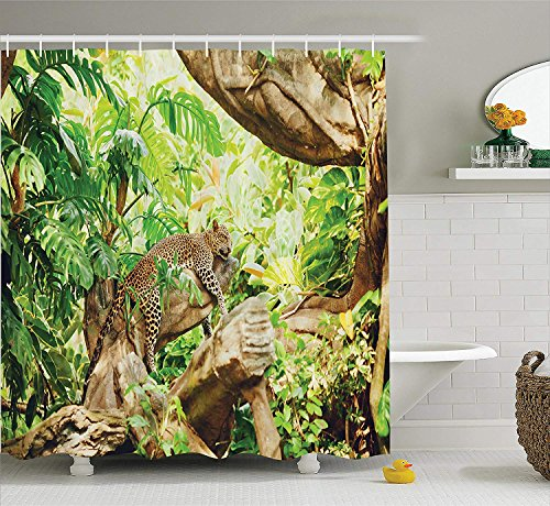 Jolly2T Safari Decor Shower Curtain Set, Leopard On The Branch in Savanna Exotic Macro Tropical Leaf Jungle Wild Nature Art Photo, Bathroom Accessories, 60x72 Inches, Brown Green Green Leopard Snap