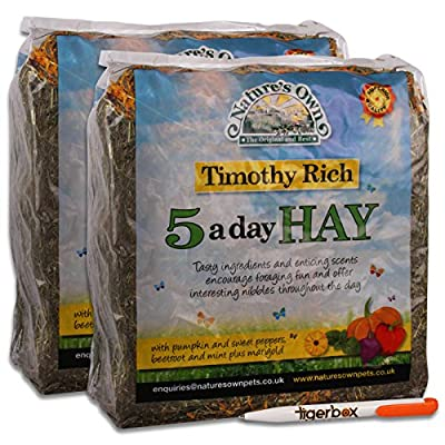Nature's Own Timothy Rich 5 a Day Hay Foraging Feed for Rabbits, Guinea Pigs, Chinchillas & Other Small Pets Animal Food & Tigerbox Antibacterial Pen by Nature's Own & Tigerbox