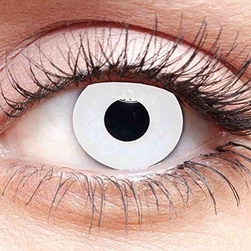 Farbige Kontaktlinsen Weiß Ohne Stärke mit Motiv weiße Linsen für Halloween Karneval Cosplay Kostüm 3 Monatslinsen White Zombie Vampir Hexe Blind