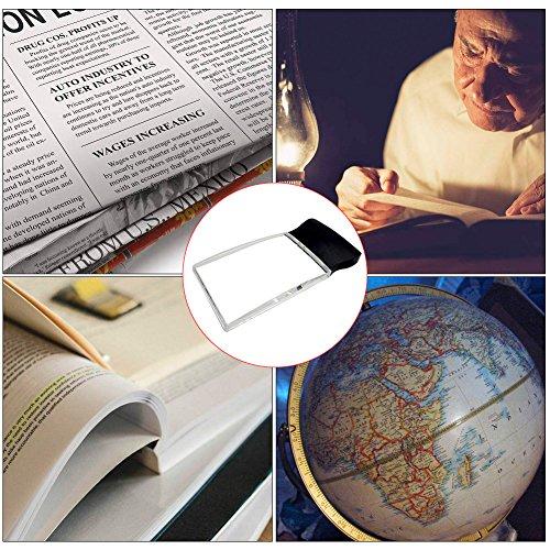 LED 2X großes rechteckiges Leselupe Handlupe mit Licht - 2,3 x 4 randlose Verzerrung-Free-Objektiv für Low Vision, Senioren, Bücher, Seiten, Zeitschriften, Zeitungen und Karten (Groß rechteckig) - 7