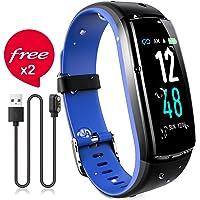 JAZIPO Fitness Armband mit Pulsmesser Blutdruck, Wasserdicht IP67 Fitness Tracker Smartwatch GPS Aktivitätstracker Pulsuhren Vibrationsalarm Anruf SMS für Damen Männer