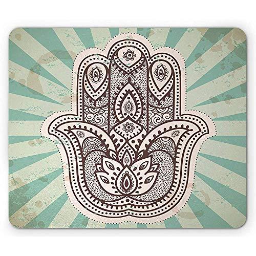 Mandala-Mausunterlage, nahöstliches Handmotiv mit Streifen-Hintergrund-Blumenmuster, Standardgröße, hellgrünes Braun 22 *   18cm