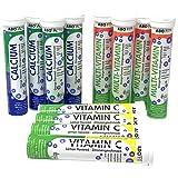 Brausetabletten-Set Vitamin C (4x 20), Multivitamin (4x 20) und Calcium (4x 20), Set aus 240 Vitamintabletten mit Orangen- und Zitronengeschmack