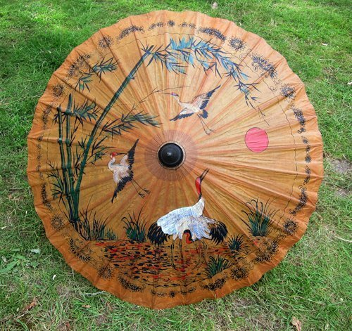 Hand- Bemalt Thai Papier/ Holz Parasol 35