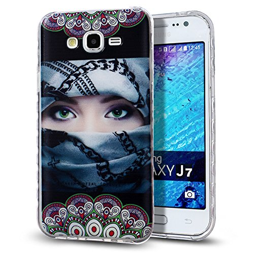Kompatibel mit Galaxy J7 Hülle,Malerei Muster Stoßdämpfend Transparent TPU Silikon Schutz Handy Hülle Case Tasche Silikon Crystal Case Durchsichtig Schutzhülle Etui Bumper für Galaxy J7,Maske Mädchen -