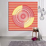 Wang Indian Mandala Wall Hanging Tapestry, Hippie Hippy Tapestries, Feather Peacock Print Tapestry, Cotton Handmade Badsheet Home Decor (Multi Color), 203x150