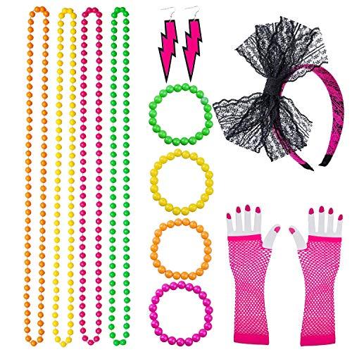 VADOO 80er Jahre Partykleid Zubehör, Spitze Bogen Stirnband Halsketten Armbänder Neon lange Netzhandschuhe Ohrring