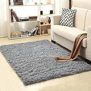 Txyk Ultra Soft Indoor Modern Area Teppiche Flauschige Wohnzimmer Teppiche geeignet für Kinder Schlafzimmer Home Decor Kinderzimmer Teppiche 60 * 120 cm (grau)