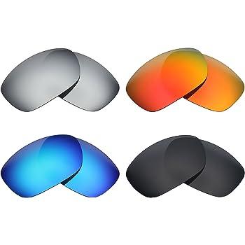 MRY 4 Pares polarizadas Lentes de Repuesto para Oakley Ten X Sunglasses-Stealth Negro/Fuego Rojo/Hielo Azul/Plata Titanio