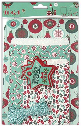 (Unbekannt Toga EMB100 Joyeux Noël, bedrucktes Papier, 16 x 25,5 x 1 cm, Rot/Grün/Weiß, 12 Stück)