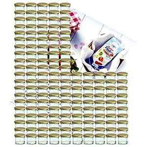 150er Set Sturzglas 125 ml Marmeladenglas Einmachglas Einweckglas To 66 goldener Deckel incl. Diamant-Zucker Gelierzauber Rezeptheft